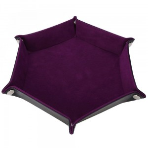 Hexagon Folding Dice Tray (Maroon)