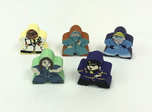 5-Piece Character Meeple Set (Compatible with Pandemic State of Emergency)