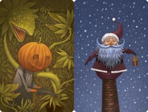 Dixit: Pumpkinhead and Santa Promo Cards