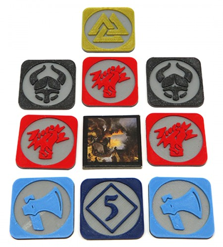 Multicolor Pillage tokens for Blood Rage (9 elementów)